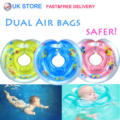 UK Baby Swimming Neck Float Infantable Bath Ring Adjustable Safety 1-18 Months