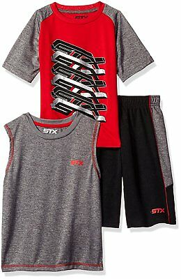 STX Big Boys' 3 Piece Tank, Tee, and Muscle Short Set, SJ_Engine Red, 10