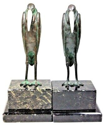 Antique Pair Of Bronze Marabou Stork Bookends After Marcel Bouraine 1890