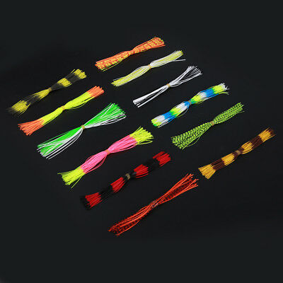 600 Strands Soft Silicone Lure Skirts Bright Colored DIY Spinning Jigging Lure