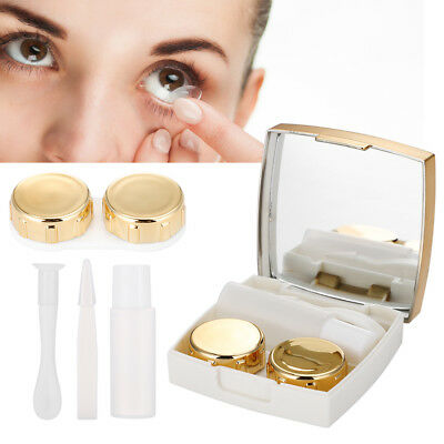 3 Colors Contact Lens Holder Eye Care Lenses Container Case Portable Mirror Box
