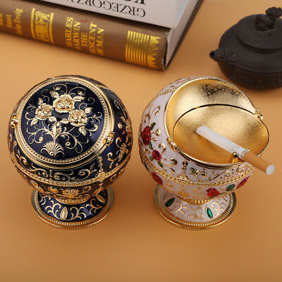 Decorative Antique Sealed Ashtray Round Ball Collectibles Epoxy/gold Plated Gift