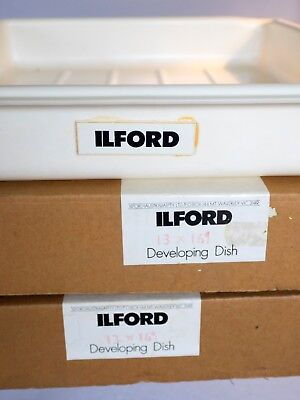 "Set of 3 Ilford 13"" x 16"" developing dishes.  Two new in box, one with some use"