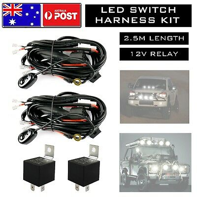 2x LED Wiring Loom Harness Kit One-To-Two Universal Driving light 12V 40A Relay