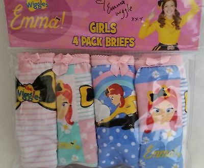 THE WIGGLES EMMA WIGGLE Licensed 4x briefs undies knickers pinktrim NEW size 3-4