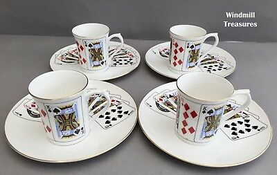 4 Queens 'Cut For Coffee' Mugs & Tea Plate/saucers - Good Condition