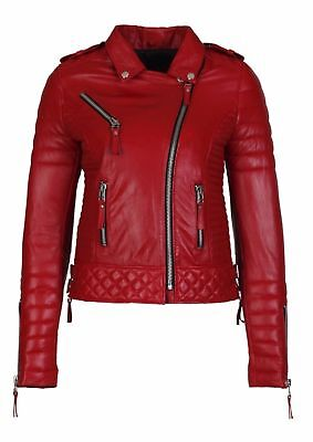 Womens Red Leather Jacket Motorcycle Biker Size S M L XL XXL Genuine Leather P2