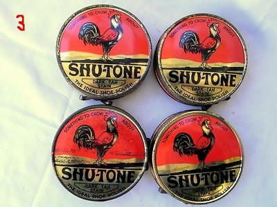 4 Old Shu - Tone *rooster* Shoe Polish Tins - New Old Stock