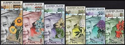 Aldabra Island 5 10 20 50 100 500 $ Unc 6 Pcs Set 2018 Qeii All Same Serial