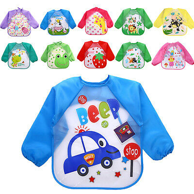 New Baby Toddler Kids Long Sleeve Waterproof Feeding Art Apron Bib Smock UK