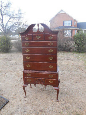Chippendale Style Mahogany Highboy Dresser Chest Drawers Knob Creek