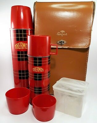 RARE Vintage Plaid Thermos Safari Outing Kit Vintage Picnic Set