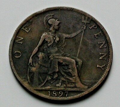1897 UK (British) Victoria Coin - Penny (1d) - dark toned & reverse soiled