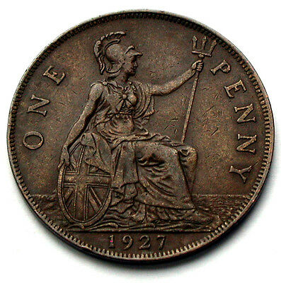 1927 UK (British) George V Coin - One Penny (1d) - brown