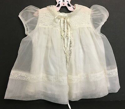 Vintage Girls Toddlers Baptism Christening White Sheer Robe Jacket With Lace