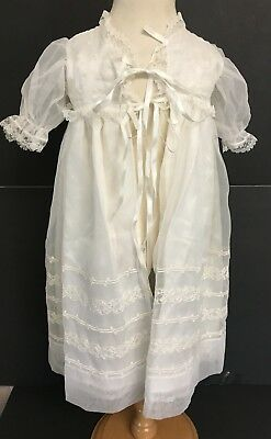 Vintage Girls Baptism Christening White Sheer Robe With Embroidery