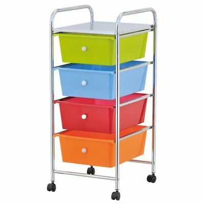 High Quality Silver 4Drawer Trolley Storage Portable Cart With Wheel Home/office