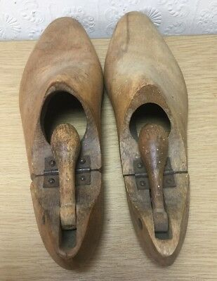 Pair Of Old Vintage Wooden Folding Shoe Trees Stretchers