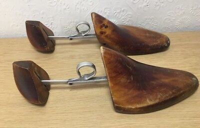 Pair Of Old Vintage Wooden Folding Shoe Trees Stretchers, Peal's Of London