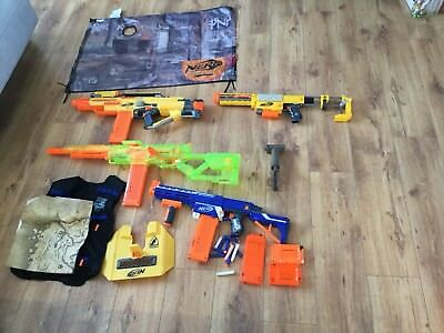 Various Super Large  4 Nerf Guns Bundle Job Lot & Targets & Vest