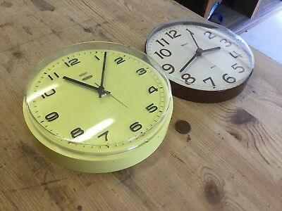 Pair Of Plastic Vintage Wall Clocks Metamec Hanson Quartz Yellow Brown