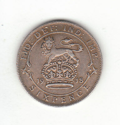 1918 Great Britain George V Silver Sixpence. VF. Popular as Lucky Wedding coin