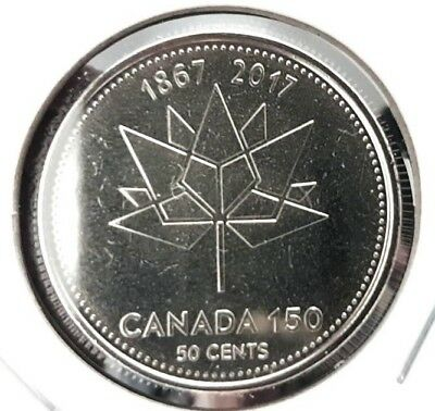 2017 Canada 150 Logo Special 50 Cent Piece From A Canadian Mint State Roll