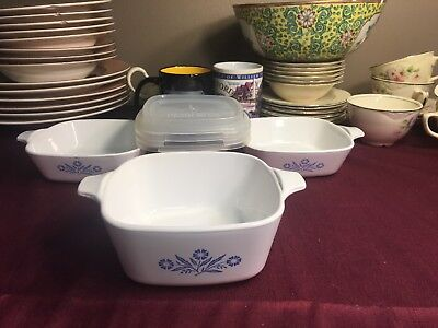Corning Ware Blue Cornflower Petite Casserole set of 3 dishes  2 P41B &  1 P43B