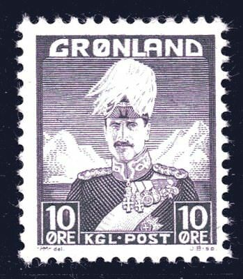 Greenland 1938 10 Ore King Christian X Mint Unhinged