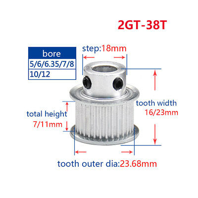 2GT36T Timing Pulley Bore 6//8//10mm For 6//10mm Width Belt For 3D Printer Reprap