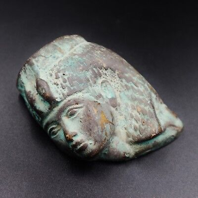 Amazing Antique Egyptian Faience Pharaoh Queen Mask Figure Amulet