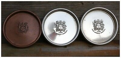 Vintage Copper/Silver Plated Wine Bottle Coasters. Coat of Arms & Royal Exchange