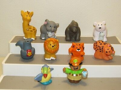 10 Fisher-Price Little People ZOO ANIMALS & KEEPER FIGURE Lot