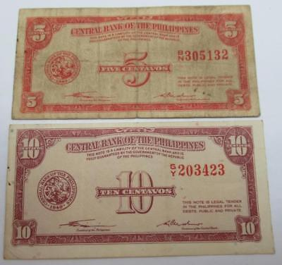 Philippines 1949 English Series 5 and 10 Centavos Lot