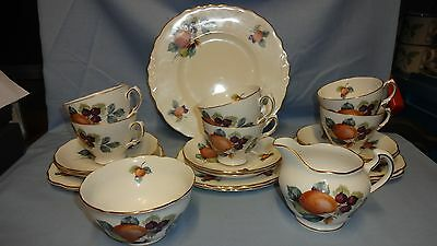 Vintage Attractive 21 Piece Royal Vale Tea Set - Fruit Decoration - Trio's ETC
