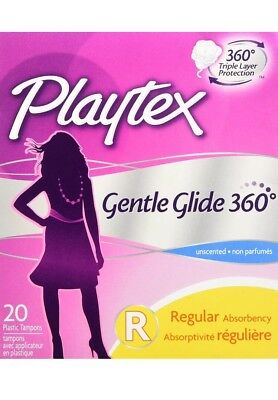 Playtex Gentle Glide 360 Triple Layer Protection Tampons, Regular, Unscented, 20