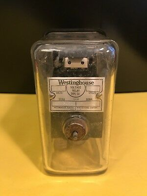 Vintage SQUARE GLASS Westinghouse Voltage Relay  Meter Type SV - A MUST SEE