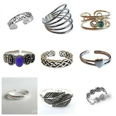 Sterling Silver 925 Adjustable Toe Ring  -  9  Different Designs   !!    New  !!