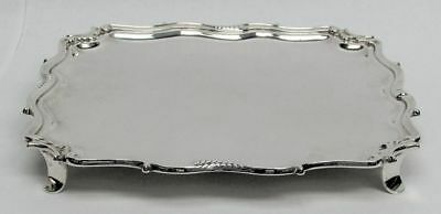"""1918 London Sterling Silver C & R C 9"""" Square Footed Tray"""