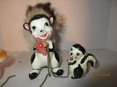 Vintage Ceramic/Furry Animal Figures Skunk 50's-60's Japan Collectibles
