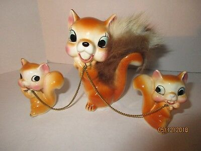 Vintage Ceramic/Furry Animal Figures Squirrel 50's-60's Japan Collectibles