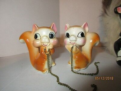 Vintage Ceramic Animal Figures Baby Squirrels 50's-60's Japan Collectibles
