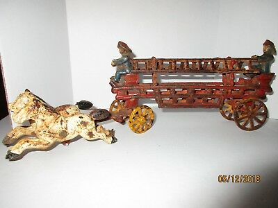 Vintage Horse & Fire Truck Wagon w/Accessories, Cast Iron Collectible Metal