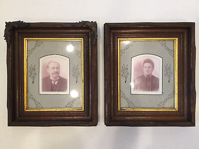 Pair Antique Victorian 19c Eastlake Wooden Picture Frames w Ornate Mattes