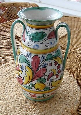 """Vintage signed ASSISI ITALY hand painted handle 11"""" vase vessel art pottery"""