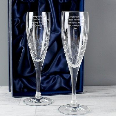 Personalised CRYSTAL CHAMPAGNE FLUTES Wedding Engagement Anniversary Mr & Mrs