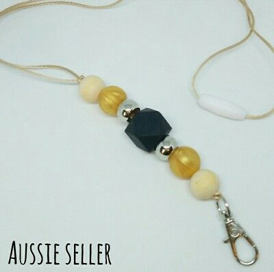 Silicone Beads Lanyard Keyring Chain Safety Clasp Holder ID Gold Black Teacher