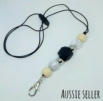 Silicone Beads Lanyard Keyring Chain Safety Clasp Holder ID Marble Black Teacher