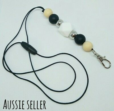 Silicone Beads Lanyard Keyring Chain Safety Clasp Holder ID Monochrome Teacher