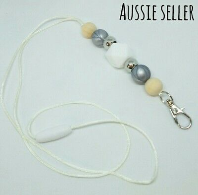 Silicone Beads Lanyard Keyring Chain Safety Clasp Holder ID White Silver Teacher
